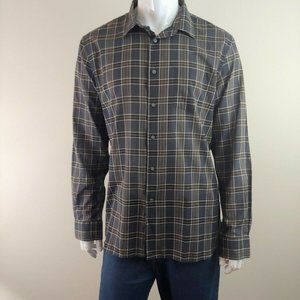 John Varvatos Mens New Brown Plaid Shirt Size XL